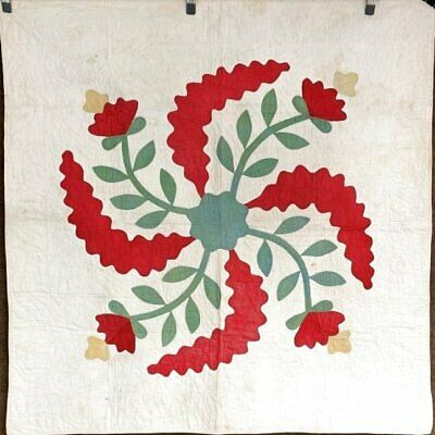 RARE c 1850s ALBUM Applique Crib Quilt Antique RED Green