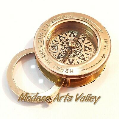 Brass Polished Flip Compass Magnifier Vintage Collectible gift