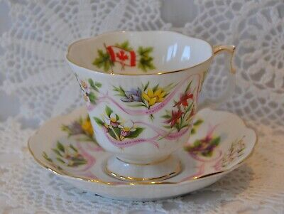 Royal Albert Canadian Emblems Cup and Saucer Bone China 10 Provincial Flowers