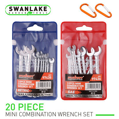 20pc Mini Wrench Set Metric SAE Ignition Spanner Open & Box End Small Equipment