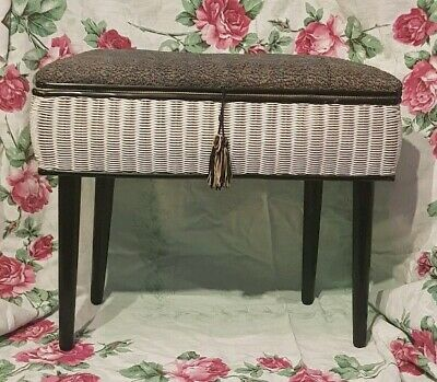 Vintage Sewing Stool Storage Wicker Danset Legs 50s 60s Blue and Grey Fabric Top