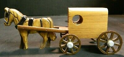 """Vintage Hand Crafted Wooden Amish Horse Drawn Wagon / Cart 2.44"""" x 6.13"""" x 2.25"""""""