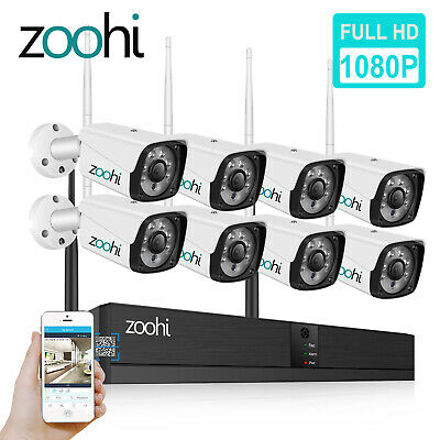 ZooHi 1080P Wireless Security Camera System Waterproof Home CCTV 4/8CH WiFi NVR
