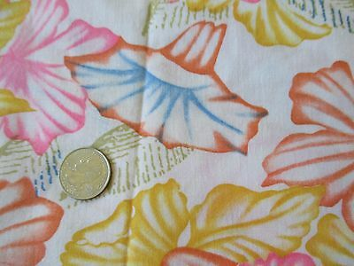 PRETTY Vintage PINK BLUE YELLOW FLOWERS On CREAM 1980's COTTON Fabric-over 1 yd