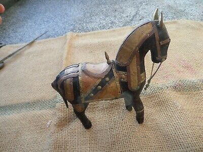 Vintage Horse Hand Carved Wooden Statue Brass Copper Bronze Wood Figure