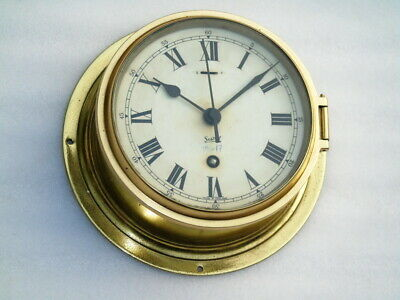 Large Brass Sestrel England Ships Bulkhead Mechanical Winding Clock Deck Watch