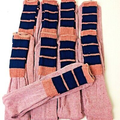 Deadstock Vintage Lot of 9 Men's Tube Socks Pink With Blue Stripes One Size