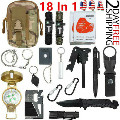 18 In 1 Outdoor Survival Gear Kit Camping Tactical SOS EDC Emergency Tools Kits