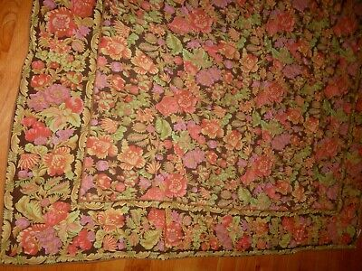 "April Cornell Tablecloth Brown Floral Pink Coral Border Long 112"" Cotton Pretty"