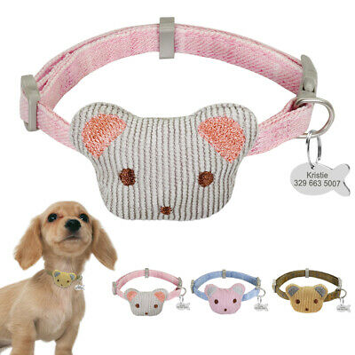 Cute Bear Pet Kitten Cat Small Dog Collar and Personalised Name ID Tag Anti-lost