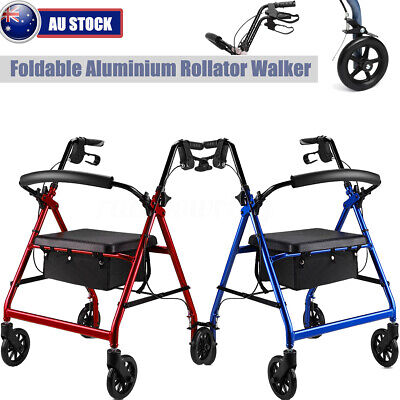 Aluminum Adjustable Foldable Rollator Walking Frame Outdoor Walker Aids Mobility