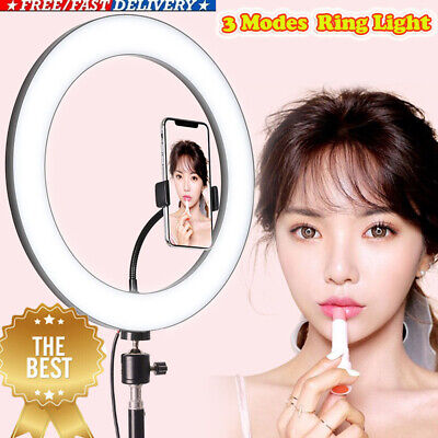 8W Dimmable 5500K LED Ring Light 3 Mode for Makeup Phone Video Camera Selfie HOT