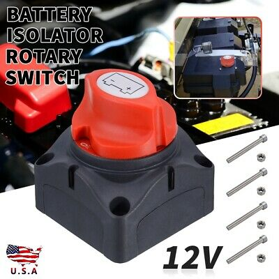 Car RV Marine Boat 12V Battery Isolator Disconnect Rotary Switch Cut On Off Kit