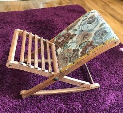 French Collapsible Wood And Tapestry Rocking Gout Stool