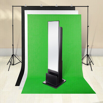 3 Backdrop Stand Kit Photography Screen Black White Green Muslin Background 2x2m