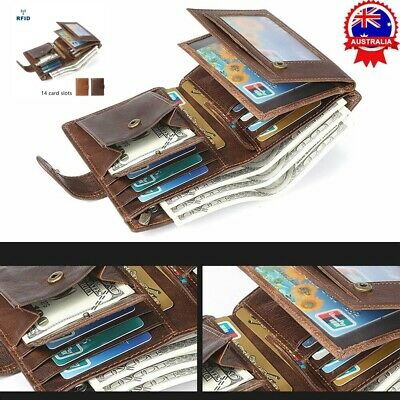 Fashion Mens RFID Blocking Genuine Leather Wallet Trifold Purse Coin Card ID