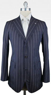 New $4800 Orazio Luciano Navy Blue Silk Striped Suit - 40/50 - (OLBLUX9STR)