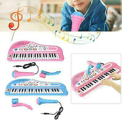 Kids Electronic Keyboard 37 Key Piano Musical Toy w/ Microphone Pink Girls Toy /