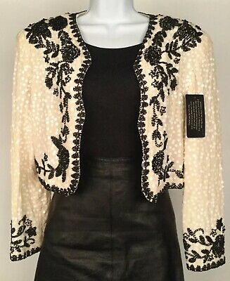 NWT Women's A.J. Bari Ivory Black Silk Sequin Beaded Bolero Jacket Size 12