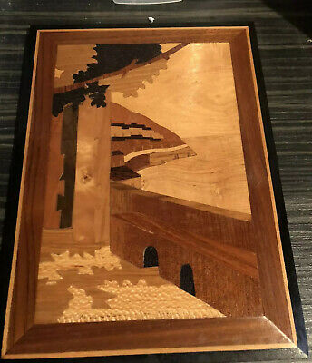 Vintage Hand Made & Inlaid Rosewood Wall Plaque, Signed By Augusto, Sorrento