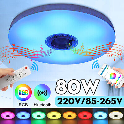 80W RGB LED Music Ceiling Lamp bluetooth APP+Remote Control Home Bedroom Light