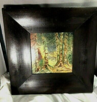 A.E.T. Antique 1920's Hand Painted Forest Scene Arts & Crafts Era Framed Tile