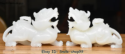Unique Natural White Jade Hand Carved Dragon Pixiu Beast Ruyi Coin Money Pair.