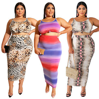 2PCS Women Summer Crop Tops Skirt Sexy Bodycon Printed Pencil Skirts Outfits Set
