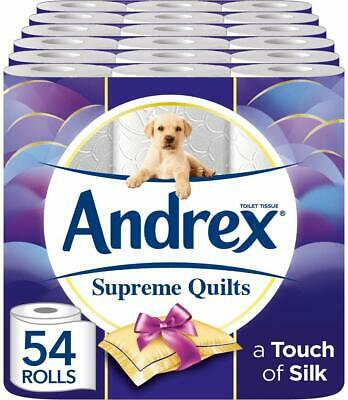 Bulk Andrex Supreme Quilts Toilet Roll 54 Rolls Tissue Paper Plush Layers 4-Ply