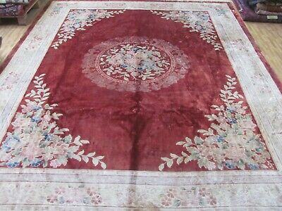 A DECORATIVE OLD HANDMADE CHINESE ORIENTAL SILK ON COTTON CARPET (360 X 272 cm)