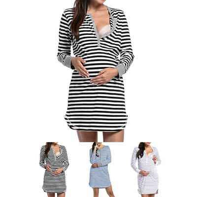 Ekouaer Women's Long Sleeve Nursing Dress Striped Maternity Dress Breastfeeding