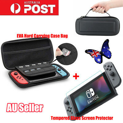 EVA Hard Carrying Bag &Tempered Glass Screen Protector For Nintendo Switch AX