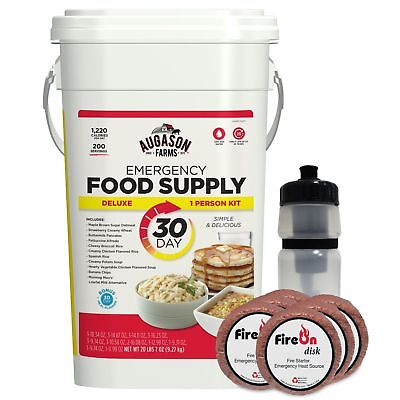 30-Day Food Storage FIRE-starter+WATER-Kit Emergency Supply Bucket Survival mre