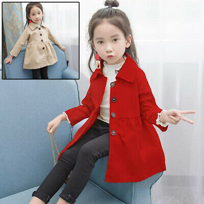 Toddler Kids Girls Trench Coat Autumn Spring Hooded Jacket Windbreaker Outerwear