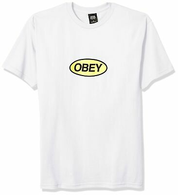 Obey Men's Stacked Basic Ss Tee Large White