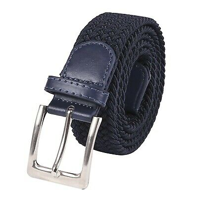 HDE Mens Canvas Stretch Belt Elastic Fabric Woven Braided Belts Metal Pin Buc...
