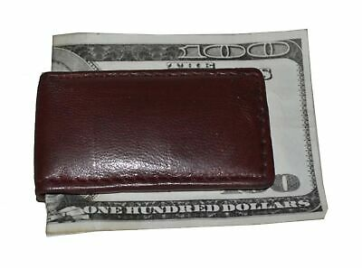 Men's New Leather Strong Magnetic Money Clip Cherry