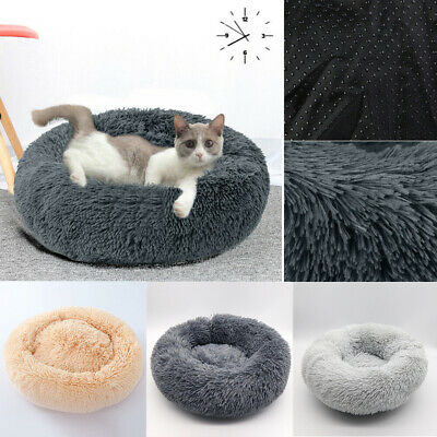 Pet Dog Cat Calming Bed Warm Soft Plush Round Nest Comfortable Sleeping #AM8