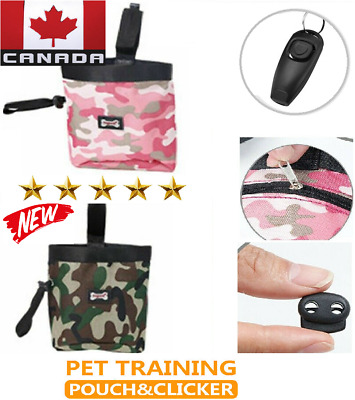 NEW Dog Training Treat Pouch Bag Food Storage Training With Whistle & Clicker
