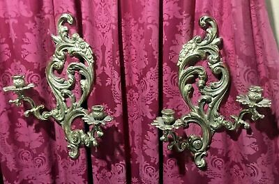 Pair Of Vintage Antique French Rococo Style Brass Finish Cast Metal Wall Sconces