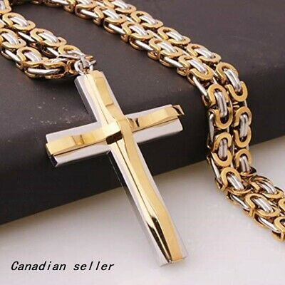 Fashion Biker Necklace Silver&Gold Cross Pendant Stainless Steel Byzantine Chain