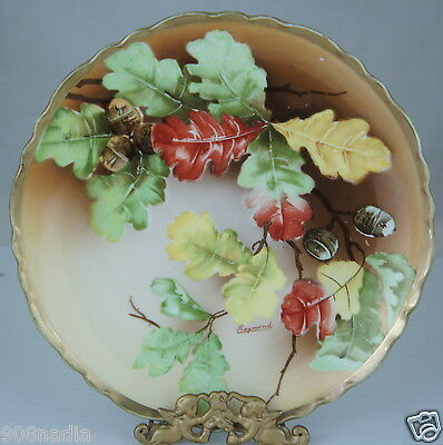 Antique Plate Hand Painted,Gold Rim,Acorn,Red,Green,Yellow Oak Leaves,Signed