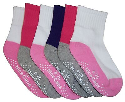 N'Ice Caps Girls and Baby Cotton/Spandex Crew Gripper Socks 6PR Pack