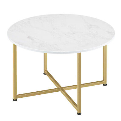 White Faux Marble Effect Bedside Coffee Table Round Metal