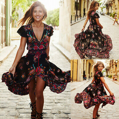 Fashion Women Party Evening Boho Floral Holiday Short Sleeve Cocktail Maxi Dress