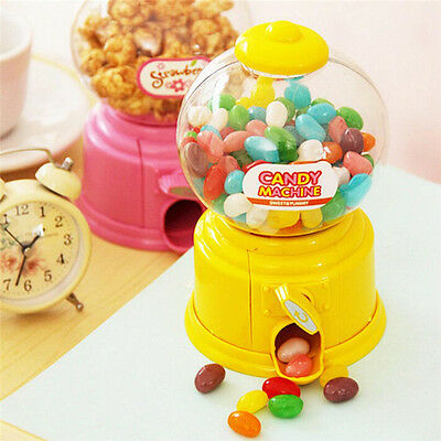 Sweets Mini Candy Machine Bubble Gumball Dispenser Coin Bank Kids Toy Gift JR