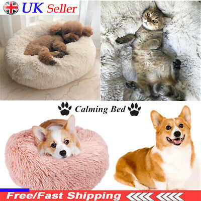 Comfy Calming Dog/Cat Bed Round Super Soft Plush Pet Bed Marshmallow Cat Bed UK*