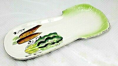 """Japanese Hand painted Celery Vegetable Serving Plate Dish  Approx 12"""" x 5.75"""""""