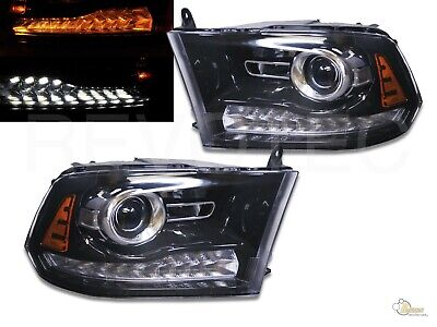 Black Switchback Projector Headlights For 09-18 Dodge Ram 1500 2500 Pickup