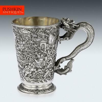 ANTIQUE 19thC CHINESE EXPORT SOLID SILVER BATTLE SCENE MUG, LEECHING c.1870